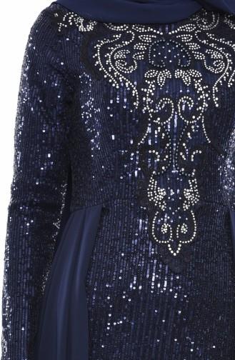 Robe de Soirée Détail Paillettes 52724-09 Bleu Marine 52724-09