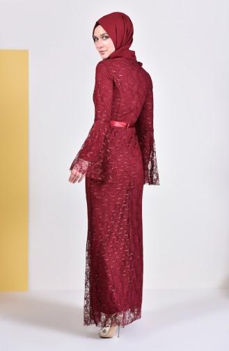 Robe de Soirée Perlées 81689-02 Bordeaux 81689-02