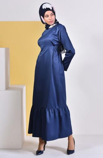 Kuşaklı Elbise 5253-03 Lacivert 5253-03