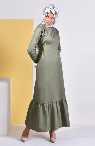 ايلميك فستان بتصميم حزام للخصر 5253-06 لون أخضر كاكي 5253-06