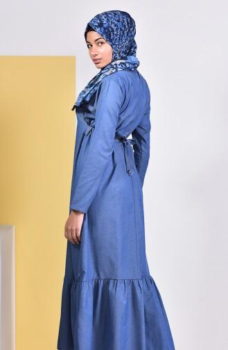 Kuşaklı Elbise 5253A-01 Kot Mavi 5253A-01