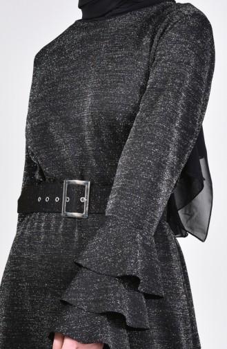Kemerli Simli Elbise 4081-04 Siyah