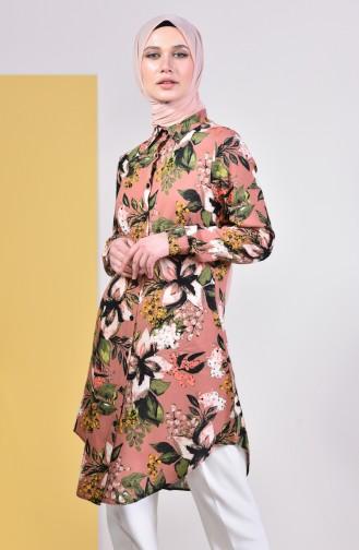 تونيك فيسكوز بتصميم مُطبع  6359-01 لون بيج مائل للوردي 6359-01