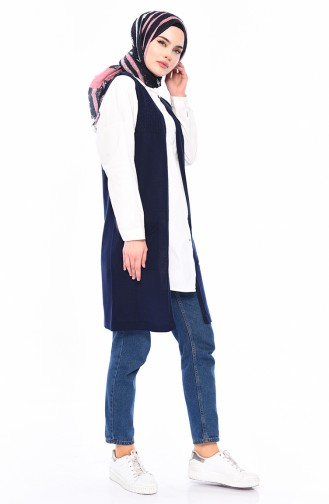 iLMEK Knitwear Pocketed Vest  4121-14 Light Navy Blue 4121-14