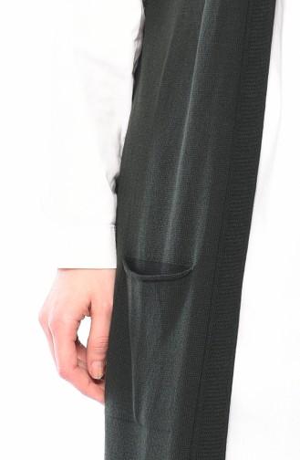 سترة بدون اكمام مُحاك بتصميم جيوب وقصة مستقيمة 4128-19 لون اخضر داكن 4128-19