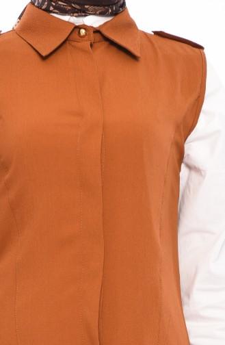 Gömlek Yaka Yelek 4514-05 Taba