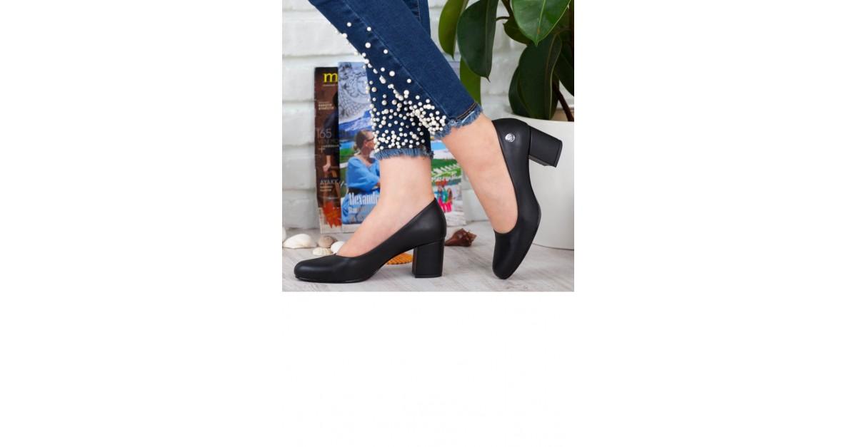 7a521d331 ماما ميا حذاء نسائي بتصميم كعبA192Ydyl0087001 لون اسود جلد 192YDYL0087001