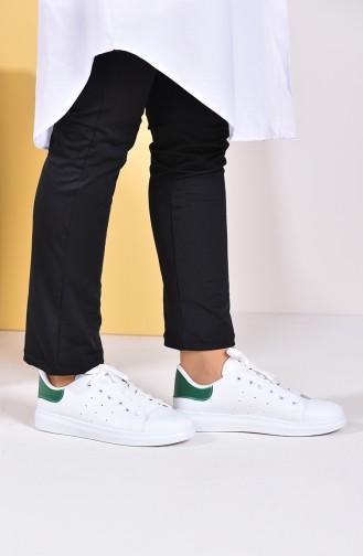 Bayan Spor Ayakkabı 2019-02 Beyaz Yeşil