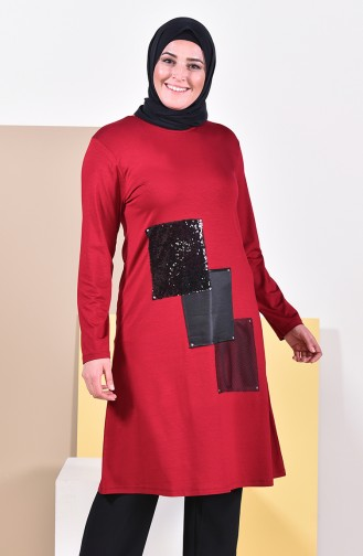Sequin Detailed Tunic 5886-02 Claret Red 5886-02