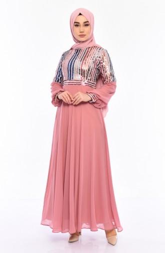Sequined Evening Dress 81683-01 Powder 81683-01