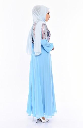 Sequined Evening Dress 81683-04 Blue 81683-04