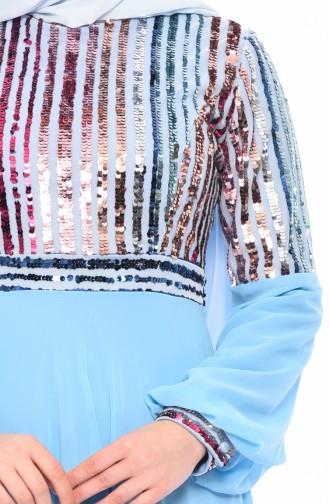Robe de Soirée a Paillettes 81683-04 Bleu 81683-04