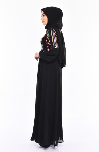 Sequined Evening Dress 81683-05 Black 81683-05