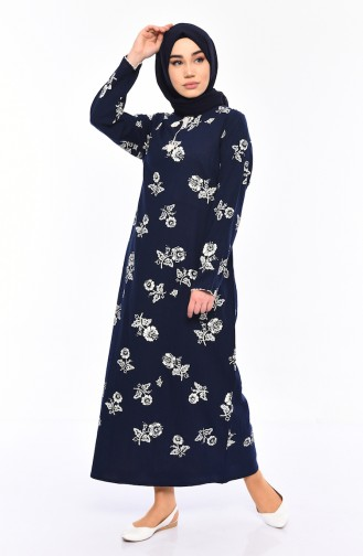 Pattern Gauze Fabric Dress 0450-01 Navy 0450-01