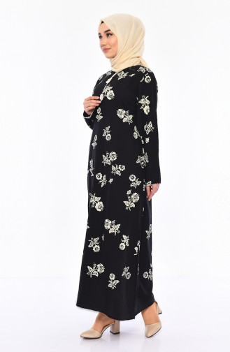 Pattern Gauze Fabric Dress 0450-04 Black 0450-04