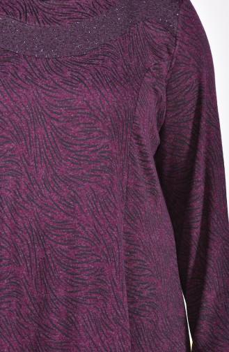Büyük Beden Taş Baskılı Elbise 4426C-04 Mürdüm
