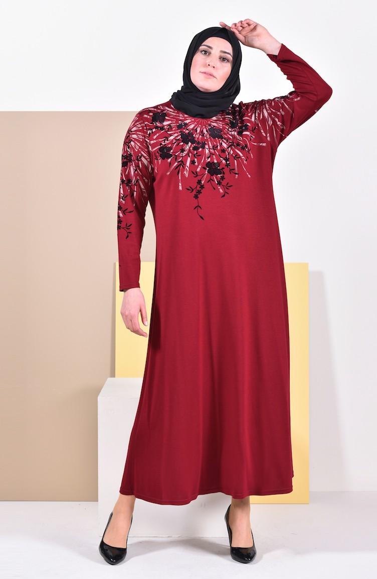 9fa733c505787 Büyük Beden Baskılı Elbise 4494-02 Bordo