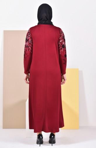 Large Size Printed Dress 4494-02 Bordeaux 4494-02