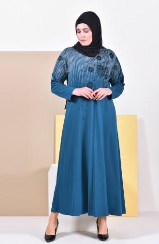 فستان بتصميم مُطبع وبمقاسات كبيرة 4494A-03 لون زيتي 4494A-03