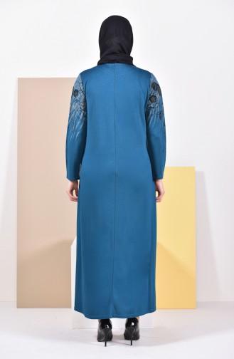 Büyük Beden Baskılı Elbise 4494A-03 Petrol 4494A-03
