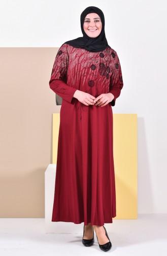 فستان بتصميم مُطبع وبمقاسات كبيرة 4494A-05 لون خمري 4494A-05