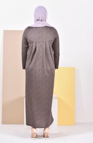 Büyük Beden Pileli Elbise 4807-02 Vizon