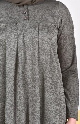 Büyük Beden Pileli Elbise 4807A-01 Haki