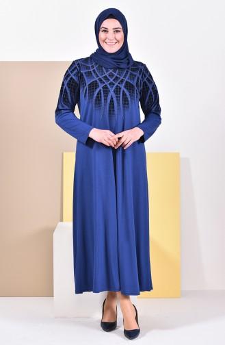 Büyük Beden Desenli Elbise 4833-08 İndigo