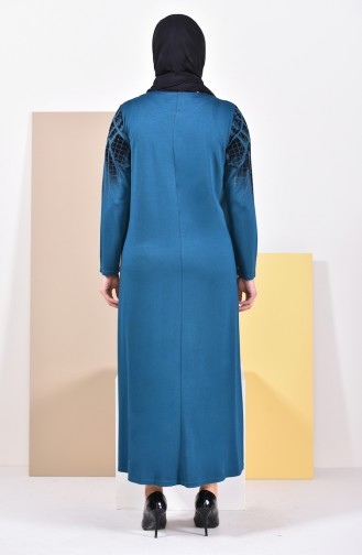 Plus Size Pattern Dress 4833-10 Petrol 4833-10