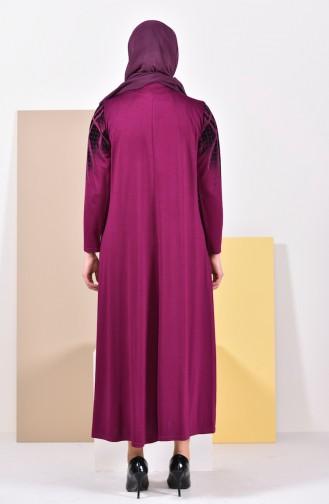 Plus Size Pattern Dress 4833-12 Plum 4833-12