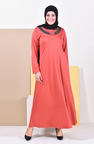 فستان مزين باحجار لامعة وبمقاسات كبيرة 4841-08 لون قرميدي فاتح 4841-08