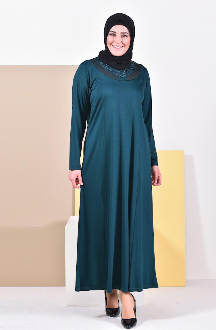 Couleur Vert Emeraude Foncé robe garnie grande taille 4841-14 vert emeraude foncé 4841-14