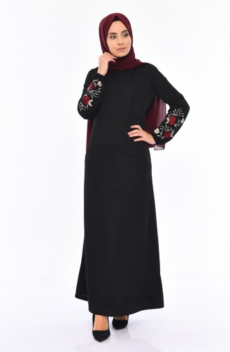 Embroidered Dress 4009-01 Black 4009-01
