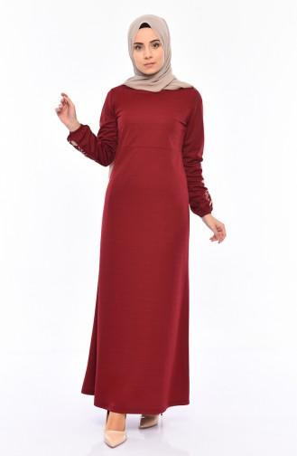 Nakışlı Elbise 4009-03 Bordo