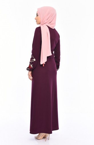 Embroidered Dress 4009-04 Plum 4009-04