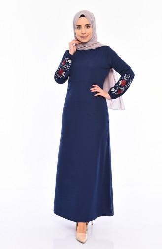 74f6992a141b3 Sefamerve, Embroidered Dress 4009-05 Dark Indigo