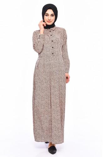 Patterned Summer Dress 1013-04 Powder 1013-04