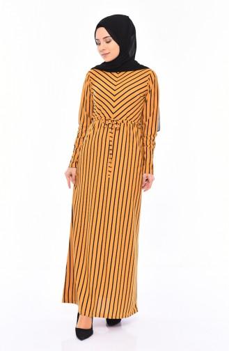 Çizgili Elbise 4169-04 Hardal 4169-04