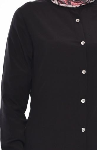 Düğmeli Viskon Tunik 3158-06 Siyah