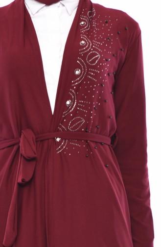 Claret red Cardigan 9015-04