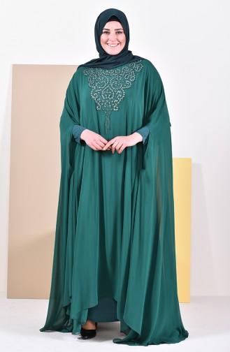 Robe de Soirée Perlées Grande Taille 1003-01 Vert emeraude 1003-01