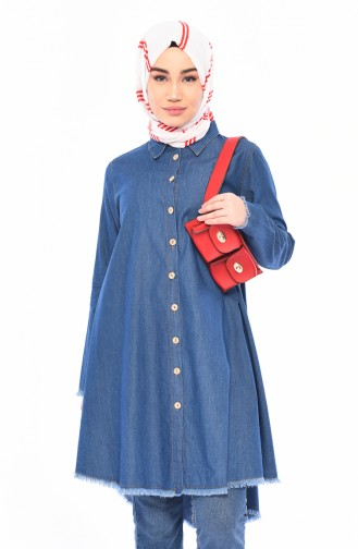 Buttoned Jeans Tunic 5061-01 Blue Jeans 5061-01