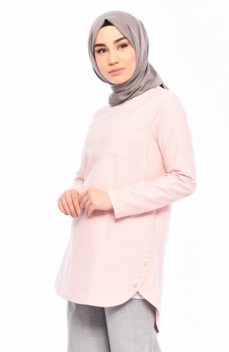 Cotton Buttons Detailed Tunic 3082-04 Pink 3082-04