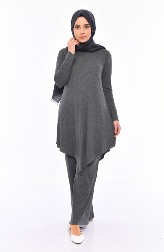 Asymmetric Tunic Pants Double Suit 3399-07 Gray 3399-07