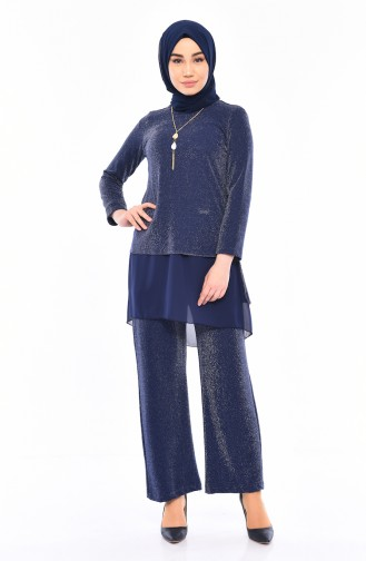 Necklace Tunic Pants Binary Suit 1310-02 Navy Blue 1310-02