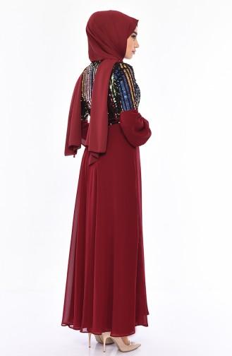 Robe de Soirée a Paillettes 81683-02 Bordeaux 81683-02