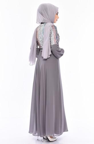 Sequined Evening Dress 81683-03 Gray 81683-03