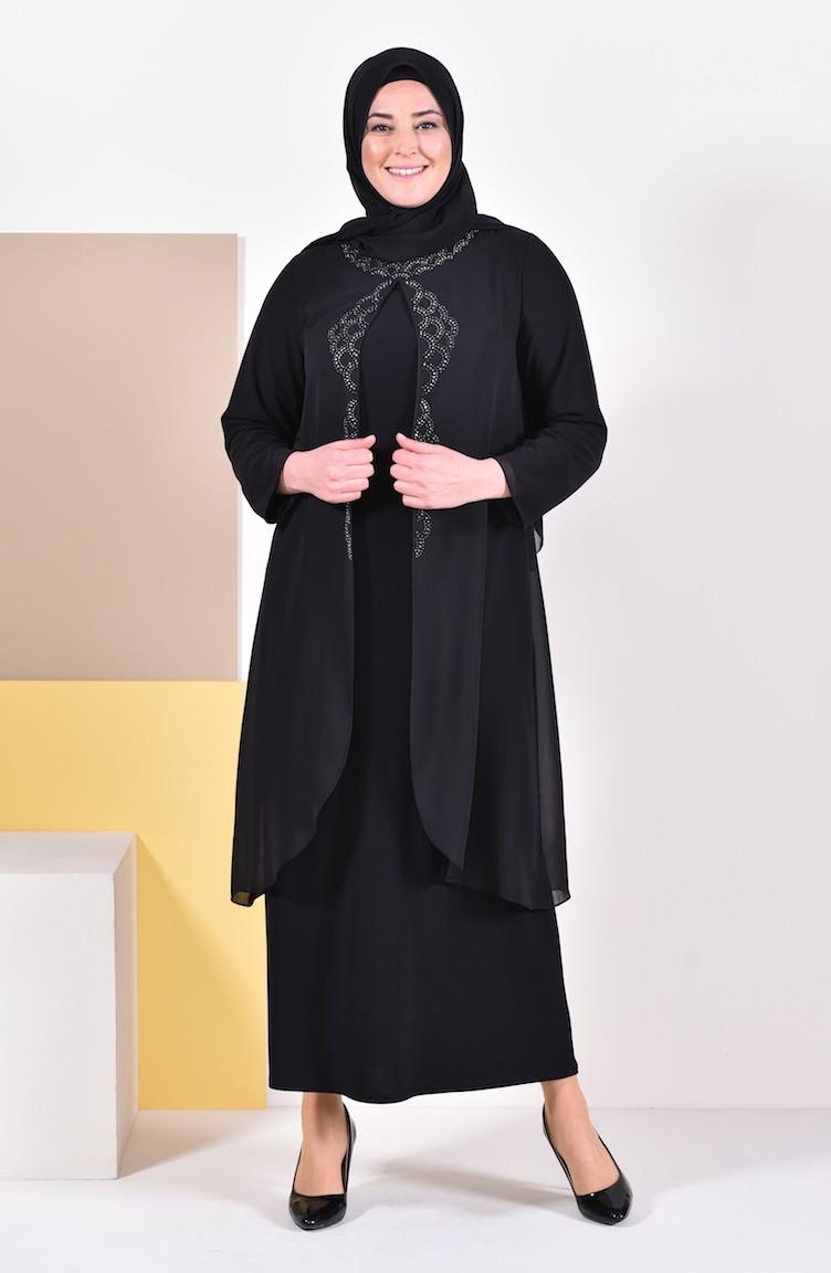 d583928f9867b فستان سهرة بتصميم مُطبع باحجار لامعة وبمقاسات كبيرة 1046-01 لون اسود 1046-01