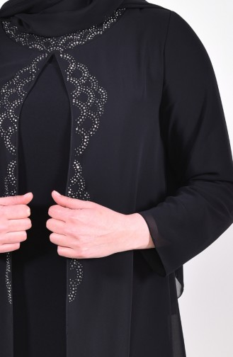 Large Size Stone Printed Evening Dress 1046-01 Black 1046-01
