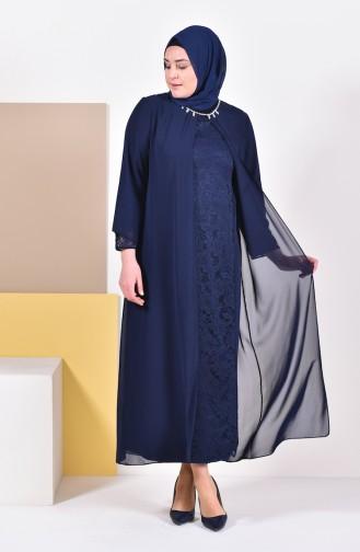 Plus Size Stones Evening Dress 1049-01 Navy 1049-01